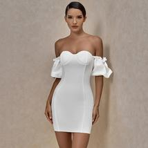 Off Shoulder White Bandage Dress Summer New Arrival