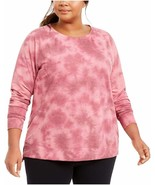 Ideology Women's Plus Size Tie Dye High-Low Hem Sweatshirt, Pink, 2X - $18.27