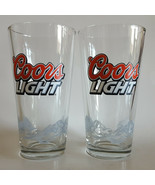 2 COORS LIGHT Beer Glasses Set of 2 Bar Barware Drinking Rocky Moutains ... - $12.86