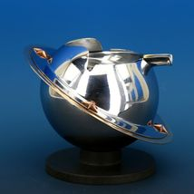 Art Deco 1939 Revere Saturn Syle Nickel Plated Brass & Copper Ash Tray Receiver image 7