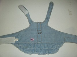 DENIM DRESS SIZE XS 19 INCHES END TO END WITH 3 TO THIGHTEN 3 INCH NECK ... - $11.69