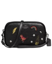 COACH Crossbody Clutch in Grain Leather with Souvenir Embroidery Black S... - $176.72