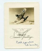 Aviation Cadet Seasons Greetings Photo Card USAAF Airplane WW2 - $21.75