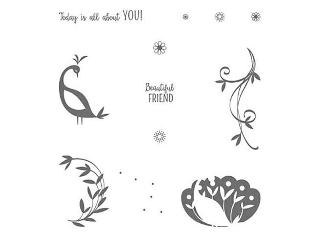 Primary image for Stampin' Up! Beautiful Peacock Clear Cling Stamp Set #147239