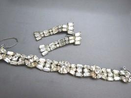 VTG Art Deco Rhinestone Bracelet Earring Baguette Navette Dangle Clip On... - $29.69