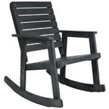 Outdoor Rocking Chair in Dark Slate Grey Finish for Patio Backyard Garde... - $152.09