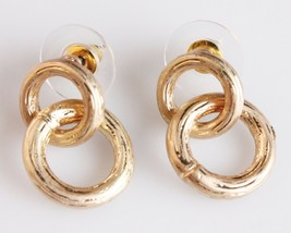 New Jardin Double Brushed Gold Plated Small Hoop Earrings NWT image 1