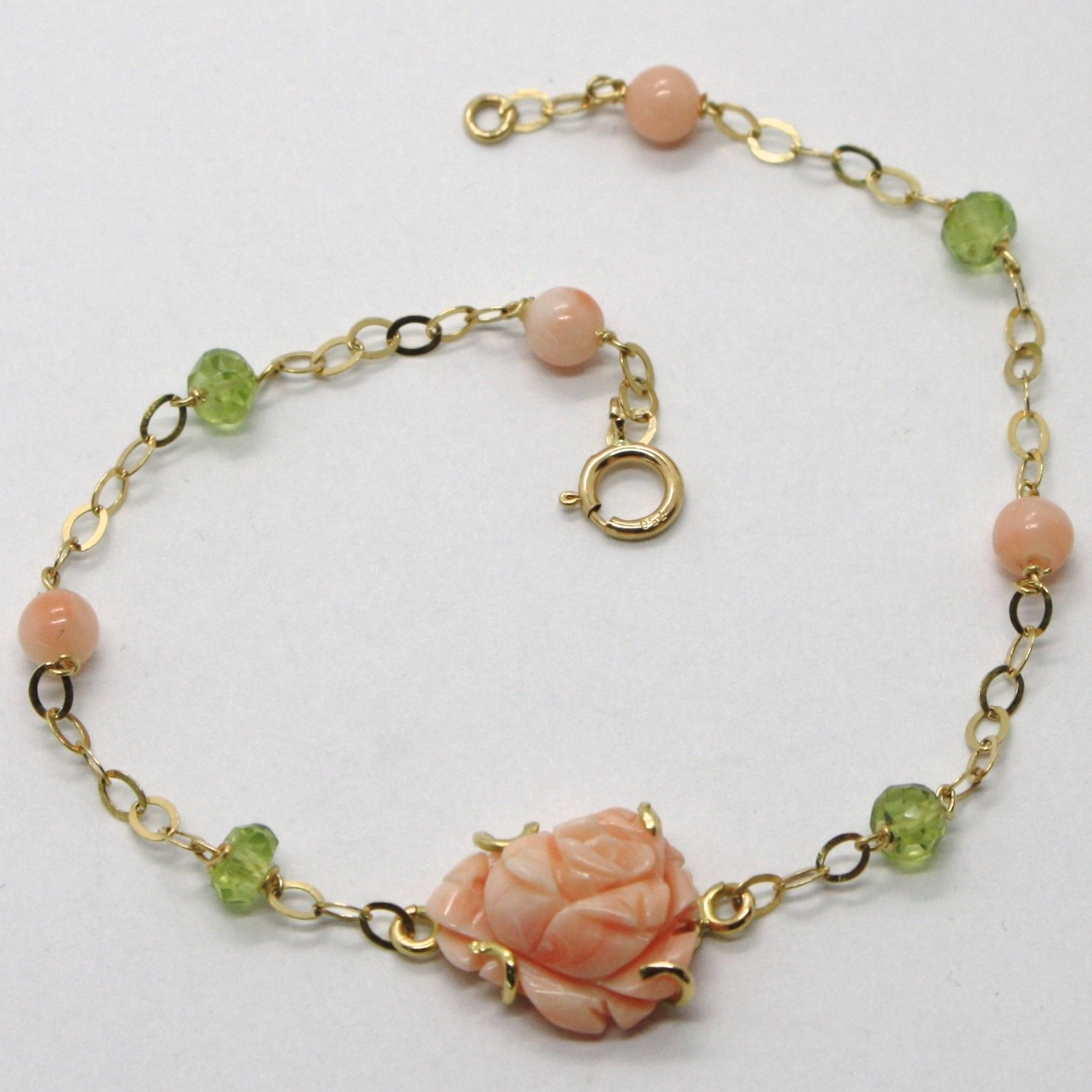 18K YELLOW GOLD BRACELET ROLO LINK, PINK CORAL FLOWER ROSE, PERIDOT, ITALY MADE