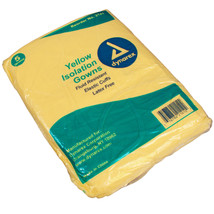 Dynarex Fluid Resistant Disposable Isolation Gown,Yellow,Full Back - 10 Gowns - $15.99