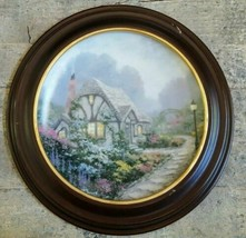 THOMAS KINKADE Collector Plate CHANDLER'S COTTAGE WITH WOODEN FRAME - $56.61
