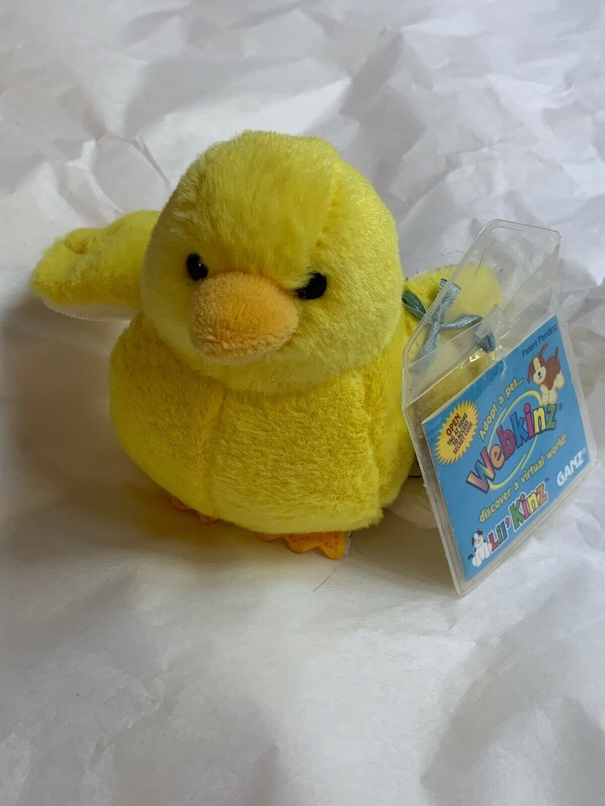 ganz webkinz lil kinz yellow canary bird plush w Code Card • Used Doll Toy Cute