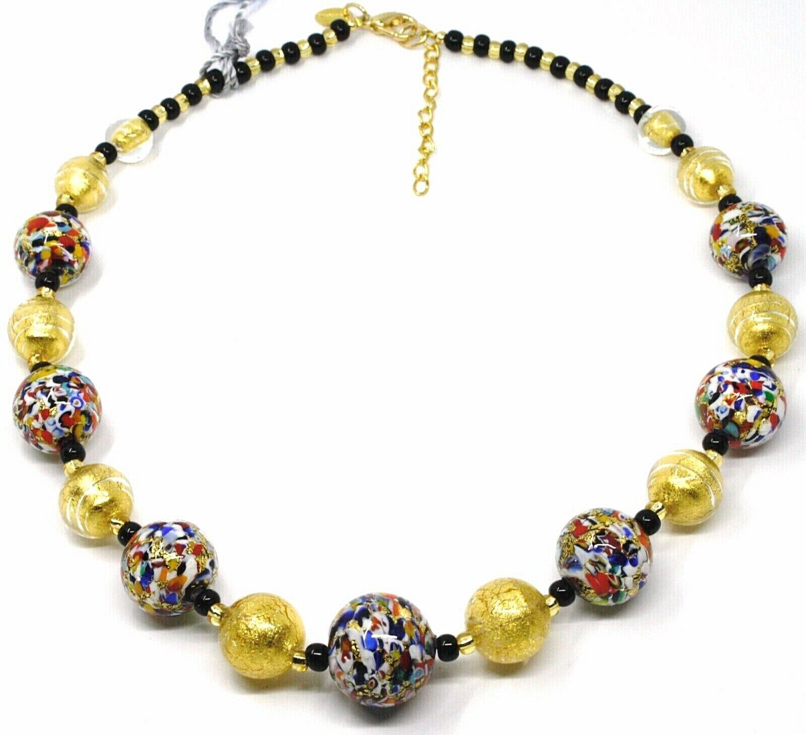 NECKLACE MACULATE MULTI COLOR MURANO GLASS BIG SPHERES, GOLD LEAF, ITALY MADE