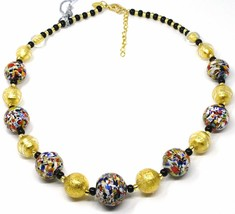 NECKLACE MACULATE MULTI COLOR MURANO GLASS BIG SPHERES, GOLD LEAF, ITALY MADE image 1