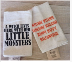 """Set of 2 Halloween Kitchen Hand Towels Designs Kathy 15"""" x 24"""" Witches M... - $21.77"""