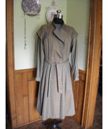 Vintage Women's Rain Trench Coat Anne Klein Iridescent Khaki Green Lined... - $75.00