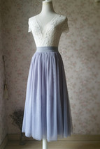 LIGHT GRAY Midi Length Tulle Skirt Tulle Midi Skirt Plus Size Gray Party Skirts image 3