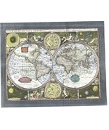 World Map of 1626 Collectible Vintage 11X14 Matted Silver Foil Print - $14.99