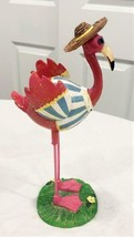 Pink Flamingo Figure Beach House Decor Dressed to Party or Stroll on the... - $22.76