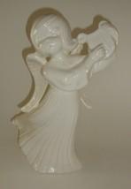 Atlantic 1976 Ceramic Angel with Harp Vintage Mold Company White Glaze  - $14.84