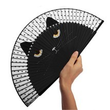 Hand Fan Bamboo Folding Black Cat Japanese Ladies Personalized Wedding D... - £13.15 GBP
