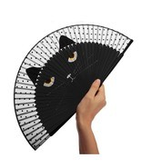 Hand Fan Bamboo Folding Black Cat Japanese Ladies Personalized Wedding D... - $16.81