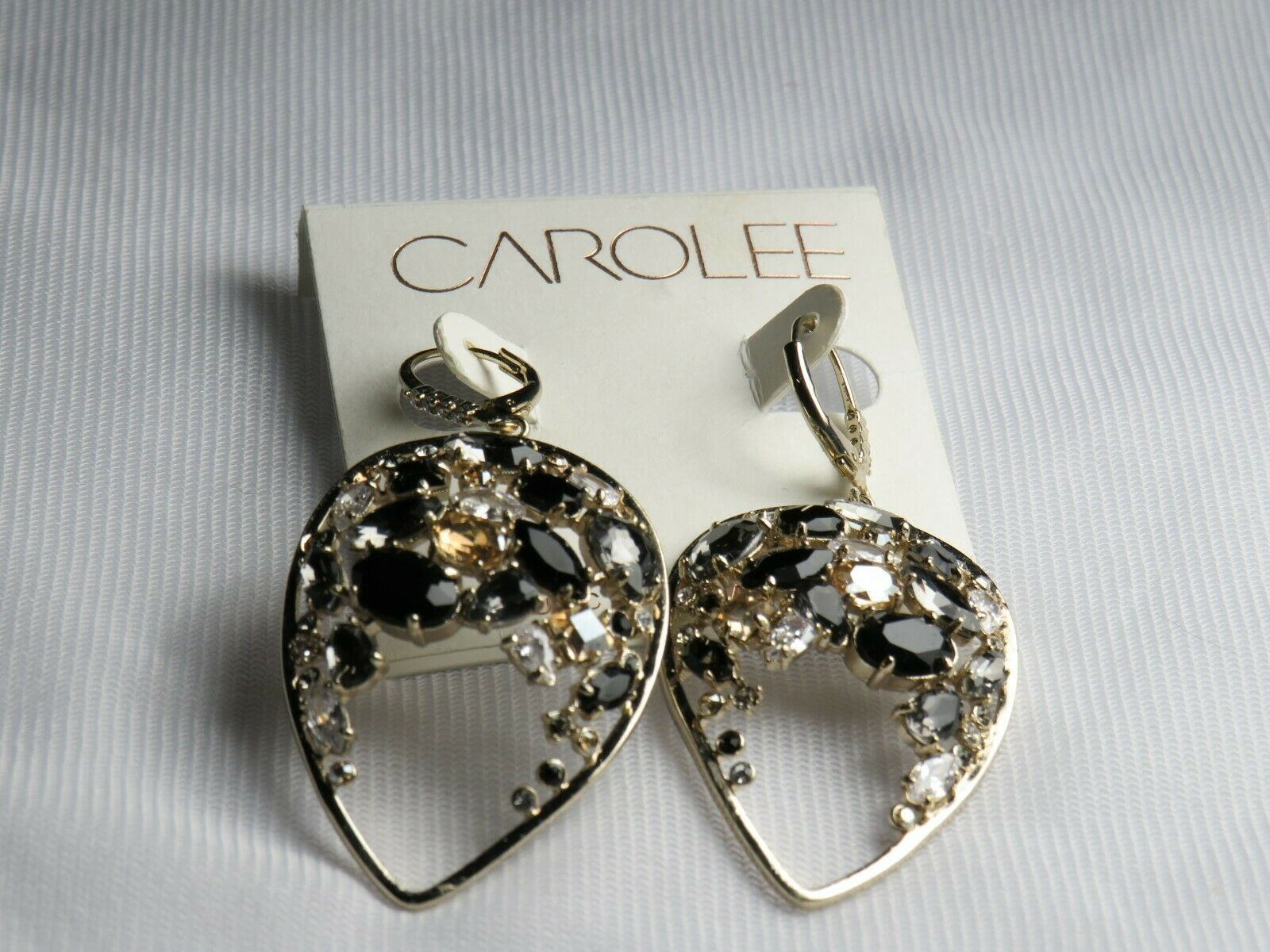 Primary image for Carolee Gold Tone Cubic Zirconia Drop Dangle Earrings - New