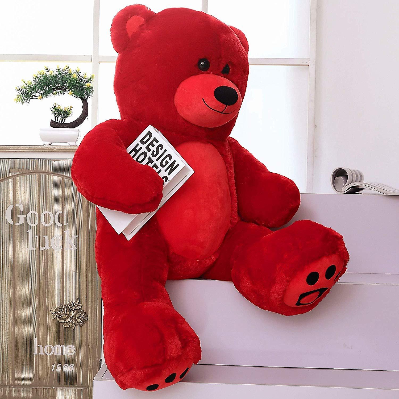 "WOWMAX Red Teddy Bear 36"" Jumbo Stuffed Animal Plush Toy Birthday & Holiday Gift"