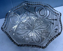 Glass/Pretty Clear Cut Glass Candy/Nut Dish w/ Scalloped Edging Intricat... - $8.34
