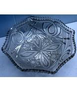 Glass/Pretty Clear Cut Glass Candy/Nut Dish w/ Scalloped Edging Intricat... - $8.34