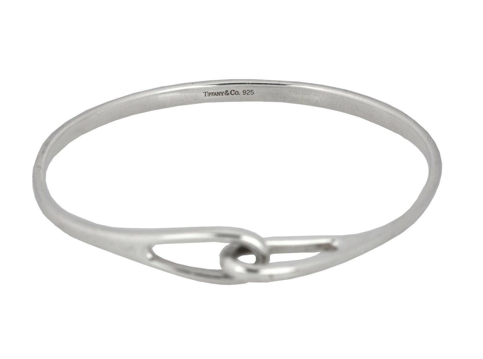 Retired Tiffany & Co. 925 Sterling Silver Interlocking Infinity Bangle Bracelet