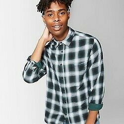 Men's Checkered Long Sleeve Woven Button-Down Shirt Original Use Forest Storm XS