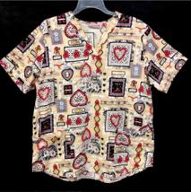 Cherokee Scrub Shirt Antique Vintage Look Hearts Nurse Vet Tech Size Large - $17.95