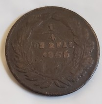 1866 Mexico 1/4 Real Copper State Coin - $7.95
