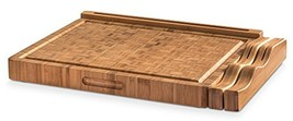 Prosumer's Choice Large Bamboo Cutting Board w/Knife Holder and Device S... - $61.31 CAD