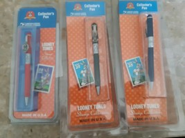 Set of 3 Looney Tunes Stamp Collection Pens Bugs Bunny Taz And Tweety Bl... - $29.65