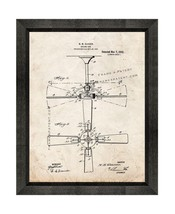 Ceiling Fan Patent Print Old Look with Beveled Wood Frame - $24.95+