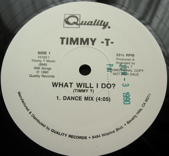 Timmy T - What Will I Do? - Quality Records 15102-1 - PROMO