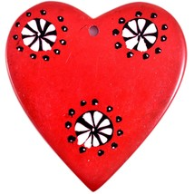 Tabaka Chigware Hand Carved Kisii Soapstone Red & Black Heart Stone Ornament image 1