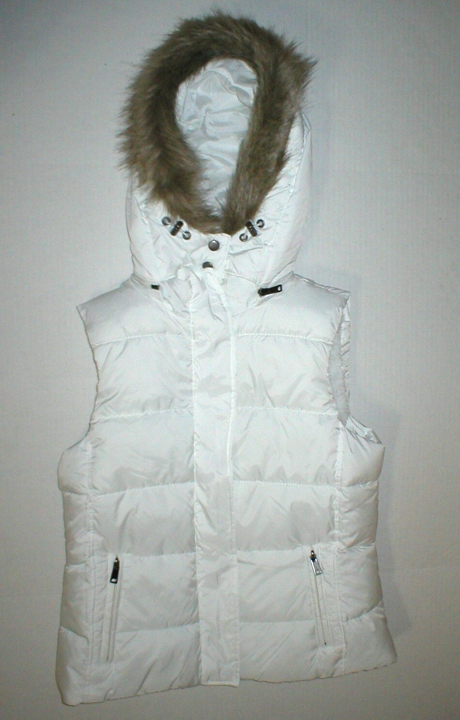 New NWT Womens S Banana Republic Faux Fur Hooded Vest White Removeable Sherpa image 7