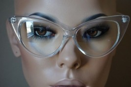 Super Cat Eye Vintage Inspired Fashion Mod Chic High Pointed Clear Frame... - $9.95