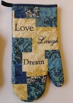 INSPIRATIONS KITCHEN SET 7-pc Towels Potholders Mitt Love Laugh Dream Blue Beige image 5