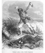 INDIAN Holding Scalp of Dead US Cavalry Soldier - 1883 German Print - $21.60