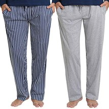 Mr. Sleep 2 Pack Men's Soft Knit Cotton PJ Pajama Pant with Adjustable Drawstrin