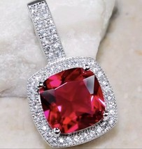 925 Sterling Silver 3 Carat Red Ruby Pendant Necklace - $13.46