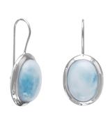 Rhodium Plated Large Oval Larimar Earrings - $147.87