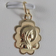 SOLID 18K YELLOW GOLD MEDAL VIRGIN MARY MARIA MADONNA ENGRAVABLE MADE IN... - $73.00
