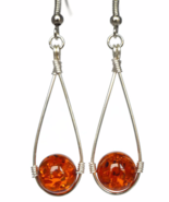Orange Teardrop Dangling Earrings with Confetti Resin Beads - $14.90+