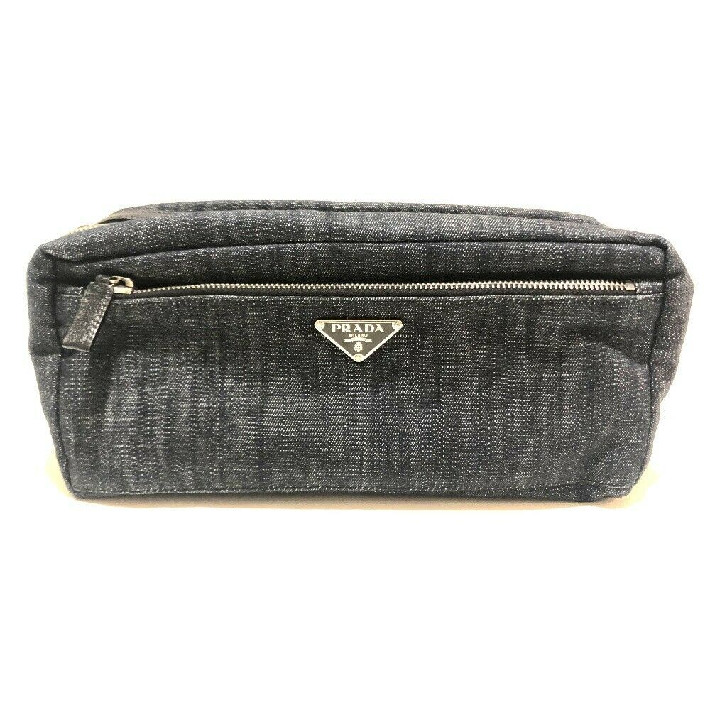 d806a2b40b19 S l1600. S l1600. Previous. AUTHENTIC PRADA Logo Plate Double Zipper Pouch  Clutch Bag Denim ...