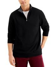 CLUB ROOM Stretch Quarter-Zip Fleece Sweatshirt Size Small Black $55 NWT - $19.79