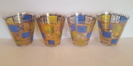Culvers Glasses Prado Riviera Set of 4 Old Fashioned Blue Acid Green Gol... - $27.65